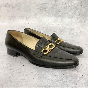 Vtg 80s 90s Bally black leather loafer 8.5